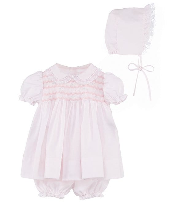 Color:Pink - Image 1 - Baby Girls Preemie-Newborn Smocked Dress & Bonnet