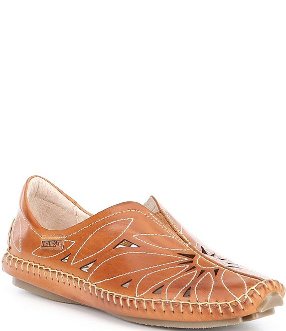 Color:Brandy - Image 1 - Jerez Floral Leather Cut-Out Detail Slip-On Moccasins