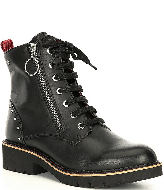 Color:Black - Image 1 - Vicar Wov Studded Block Heel Lug Sole Combat Boots