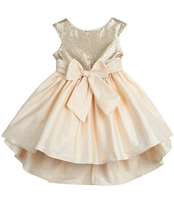 Color:Gold - Image 1 - Baby Girls 12-24 Months Bow-Waist Sequin/Taffeta Hi-Low Dress