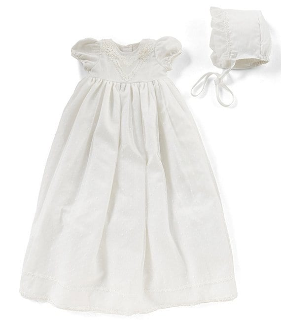 Color:White - Image 1 - Baby Girls Newborn-9 Months Christening Dress & Bonnet Hat Set