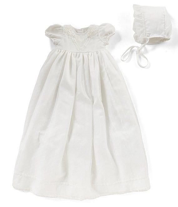 73e9570a98f35 Pippa & Julie Baby Girls Newborn-9 Months Christening Dress & Bonnet Hat Set
