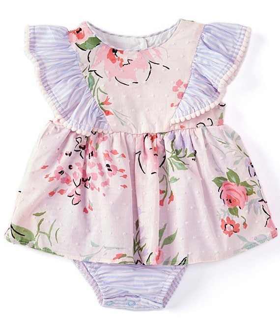 Color:Pink/Blue - Image 1 - Baby Girls Newborn-9 Months Stripe-Ruffle Floral Skirted Bodysuit