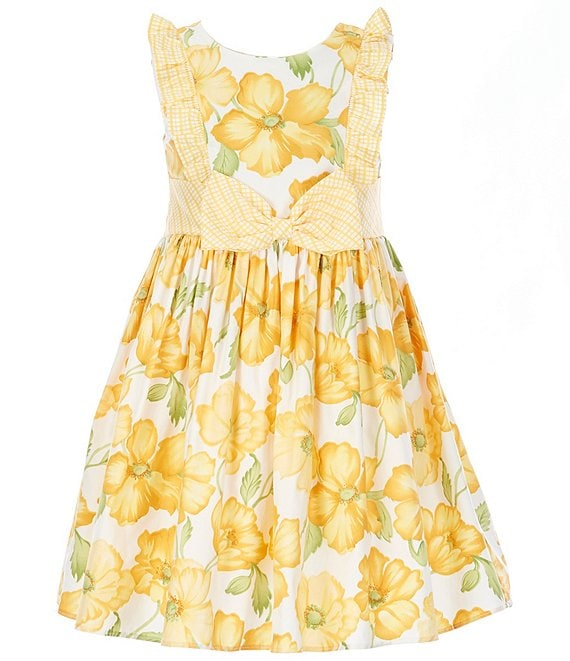 Color:Yellow/White - Image 1 - Little Girls 2T-6X Bow-Waist Floral Fit-And-Flare Dress