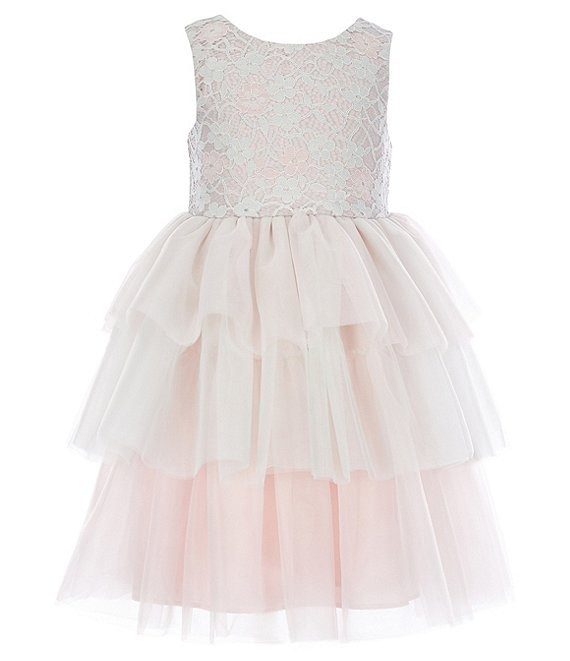 Color:Pink/White - Image 1 - Little Girls 2T-6X Lace/Tiered Mesh Fit-And-Flare Dress
