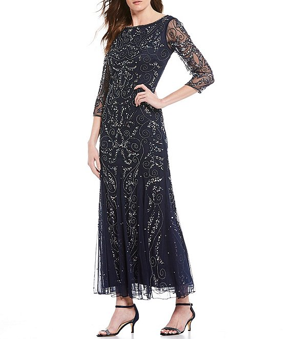 Color:Carbon - Image 1 - All Over Beaded and Sequin Illusion Sleeve Dress