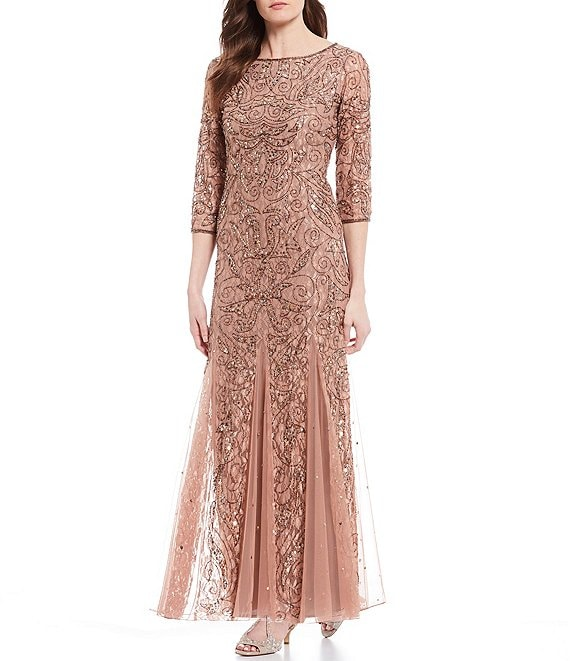Pisarro Nights Beaded 3/4 Sleeve Lace Gown
