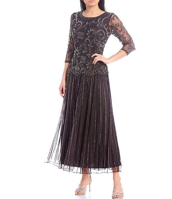 Color:Dark Grey - Image 1 - Intricate Beaded Illusion Sleeve A-line Chiffon Skirted Dress