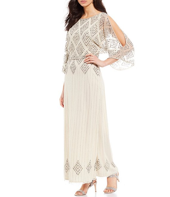 Color:Champagne - Image 1 - Diamond Beaded Blouson Slit Sleeve Detail Gown