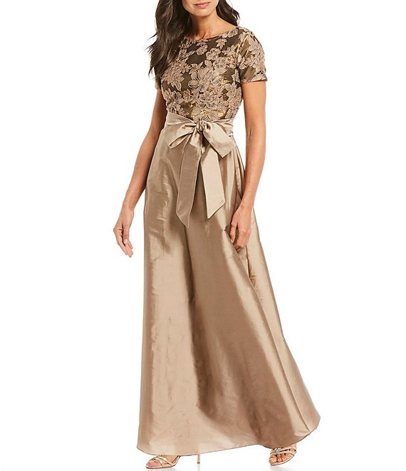 Color:Gold - Image 1 - Floral Lace Bodice Taffeta Gown