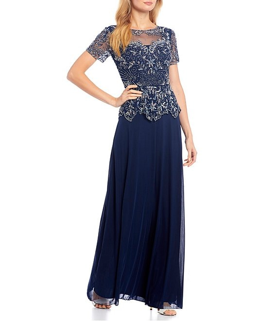 Color:Navy/Copper - Image 1 - Illusion Boat Neck Beaded Mesh Peplum Bodice Gown