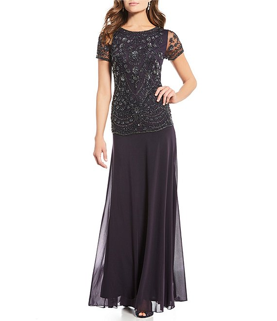 Pisarro Nights Petite Size Beaded Bodice Mock Two-Piece A-Line Gown