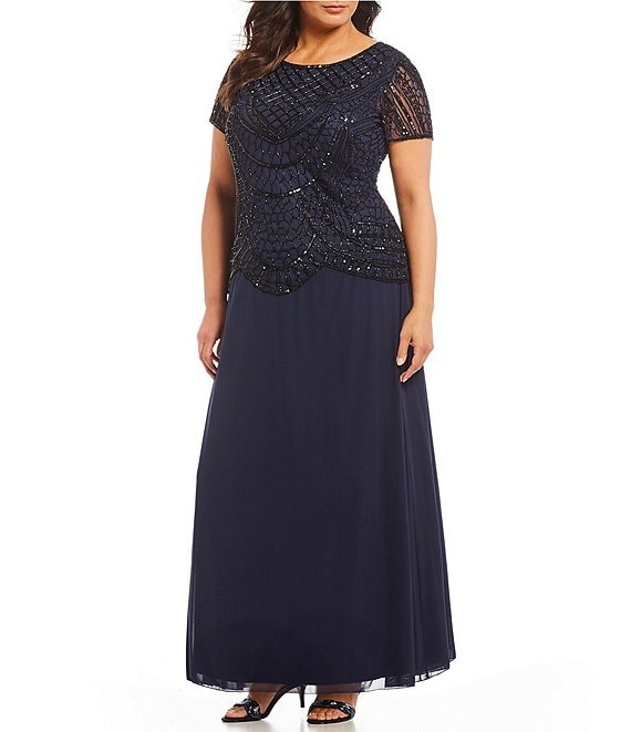 Pisarro Nights Plus Size Beaded Bodice Mock Two Piece Dress