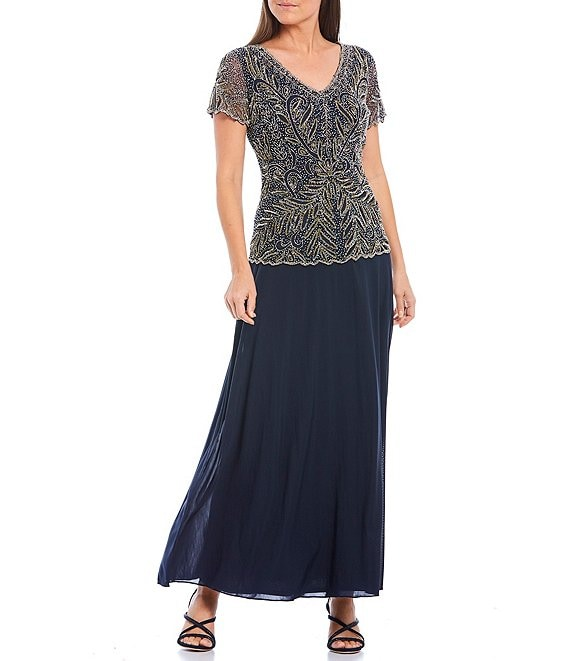 Color:Navy - Image 1 - V-Neck Short Sleeve Beaded Leaf Design Bodice Chiffon Gown