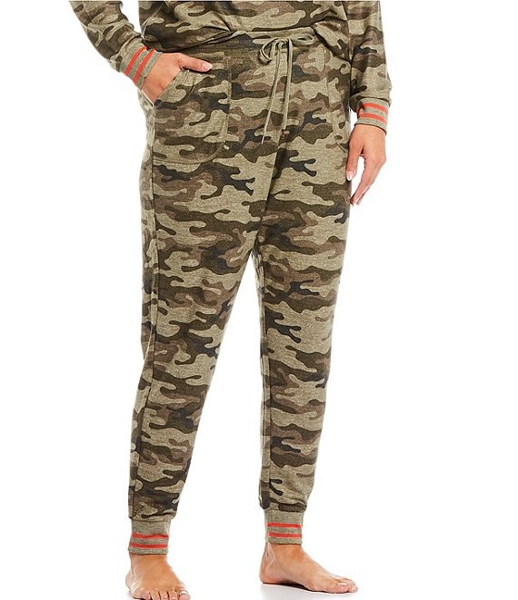 Color:Olive - Image 1 - Plus Camouflaged Print Peachy Knit Jogger Sleep Pants