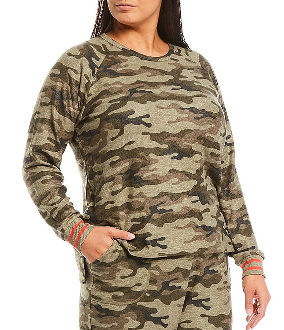 Color:Olive - Image 1 - Plus Camouflaged Print Peachy Knit Sleep Top