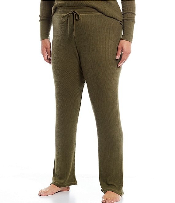 Color:Olive - Image 1 - Plus Ribbed Knit Henley Sleep Pants
