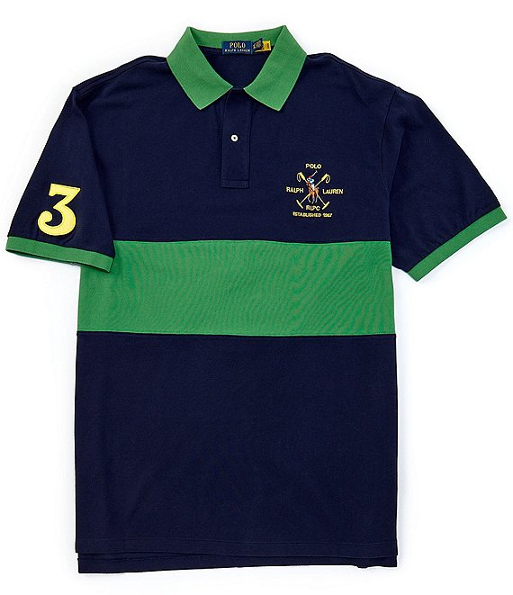 Color:Cruise Navy Multi - Image 1 - Big & Tall Big Pony Mesh Short-Sleeve Stripe Block Polo Shirt