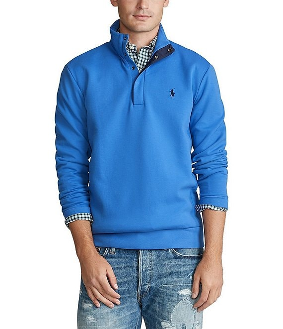 Color:Maidstone Blue - Image 1 - Big & Tall Double-Knit Mockneck Pullover