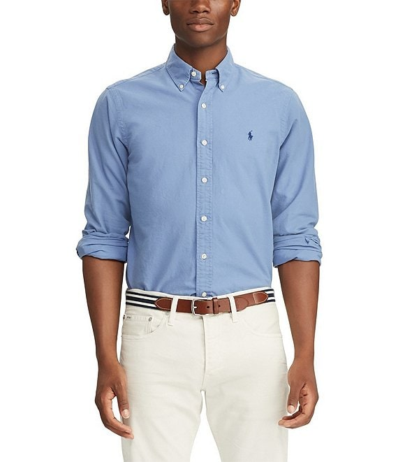Color:Bastille Blue - Image 1 - Big & Tall Solid Garment-Dye Oxford Long-Sleeve Woven Shirt