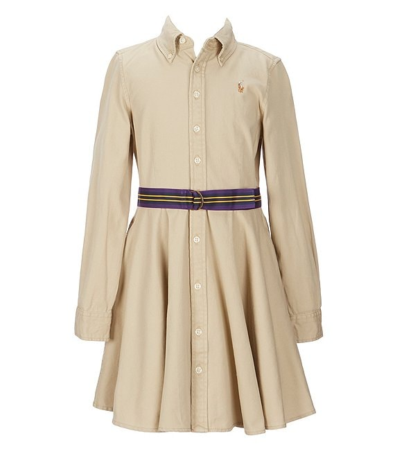 Color:Khaki - Image 1 - Big Girls 7-16 Button-Front Belted Shirtdress