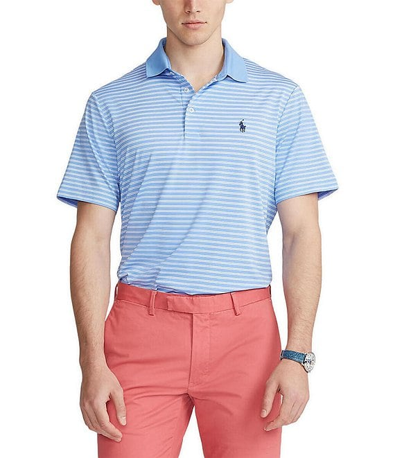 Color:Cabana Blue/Pure White - Image 1 - Classic-Fit Airflow Jersey Performance Stretch Short-Sleeve Recycled Materials Polo Shirt
