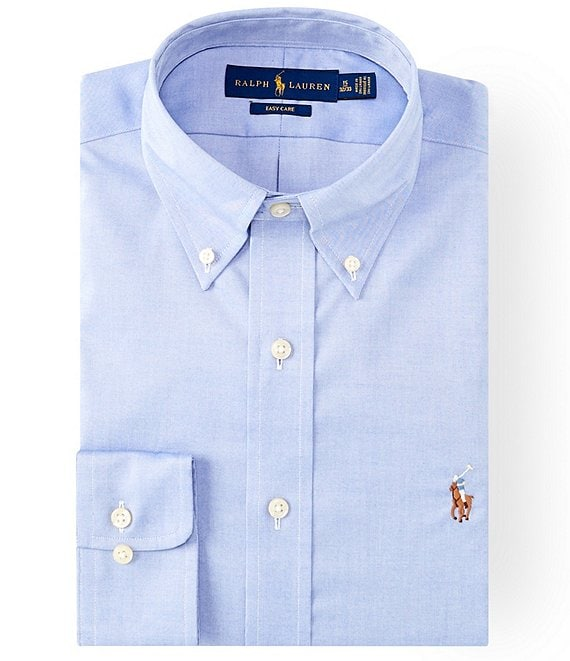 Color:Blue - Image 1 - Classic Fit Button-Down Collar Solid Oxford Dress Shirt