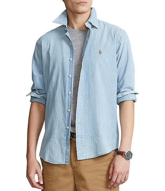 Color:Chambray - Image 1 - Classic-Fit Solid Chambray Shirt