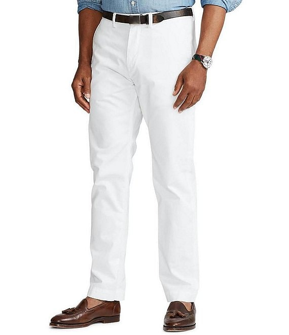 Color:White - Image 1 - Classic-Fit Flat-Front Solid Bedford Chino Pants