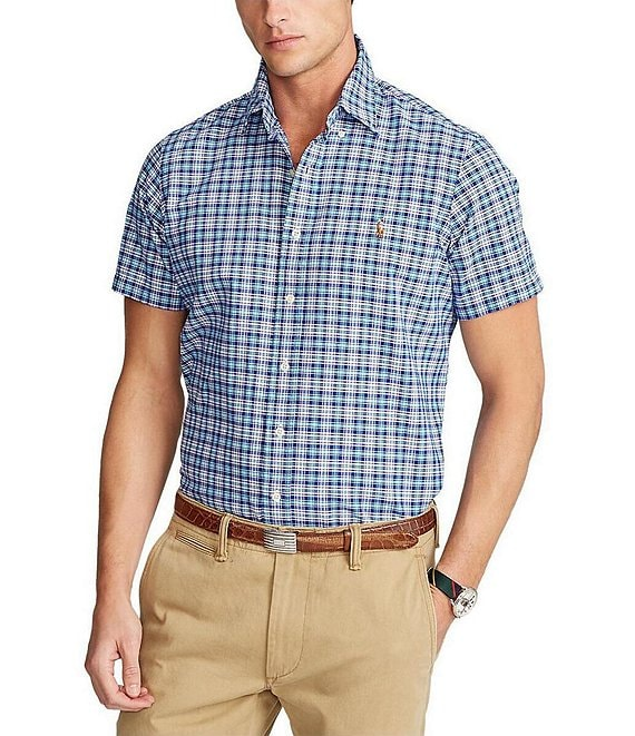 Color:Aqua/Royal Multi - Image 1 - Classic-Fit Oxford Plaid Short-Sleeve Woven Shirt