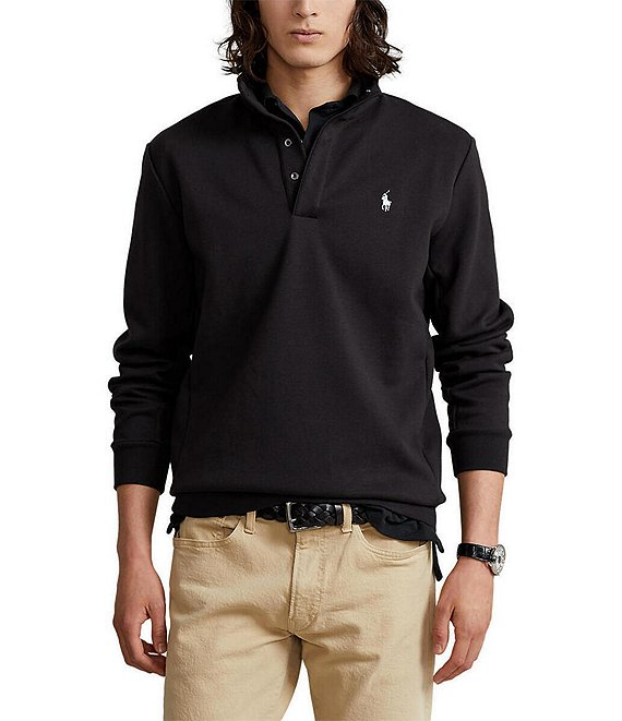 Color:Polo Black - Image 1 - Double-Knit Tech Mockneck Pullover