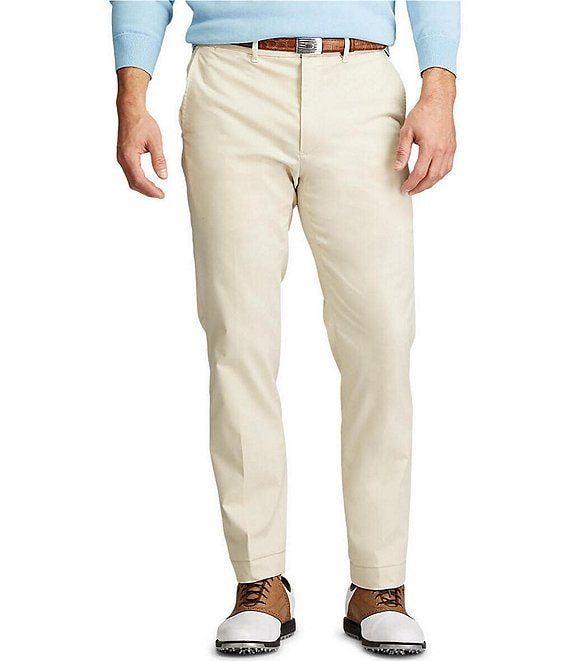 Color:Basic Sand - Image 1 - Golf Tailored-Fit Flat-Front Stretch Chino Pants