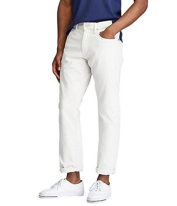 Color:Stone - Image 1 - Hampton Relaxed-Straight Light Khaki Stretch Denim Jeans