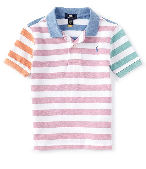 Color:Tiki Green Heather Multi - Image 1 - Little Boys 2T-7 Short-Sleeve Multi Stripe Mesh Polo