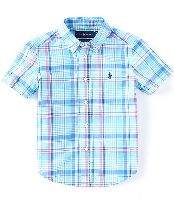 Color:Pink/Blue Multi - Image 1 - Little Boys 2T-7 Short-Sleeve Plaid Poplin Shirt
