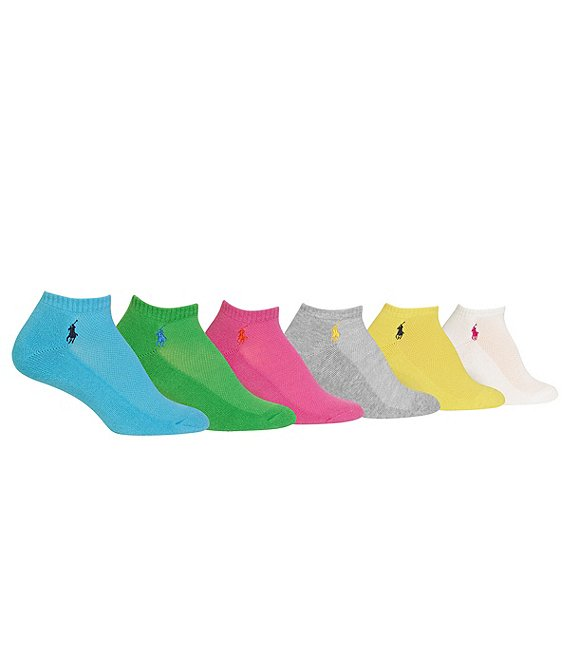 Color:Multicolor - Image 1 - Low-Cut Mesh-Top Sport Socks 6-Pack