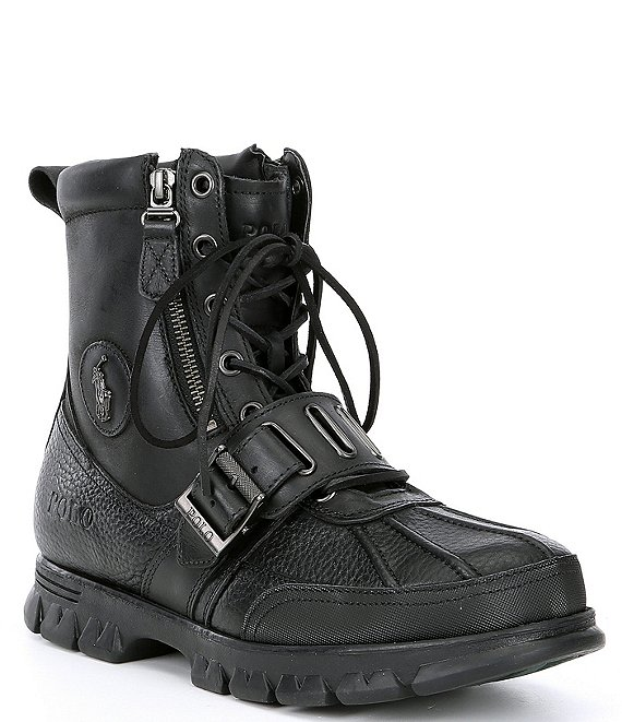 Color:Black/Black - Image 1 - Men's Andes III Leather Lace-Up Boots