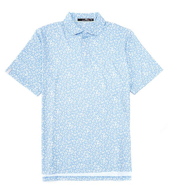 Color:Fall Blue Petals - Image 1 - RLX Golf Classic-Fit Floral Performance Stretch Short-Sleeve Polo Shirt