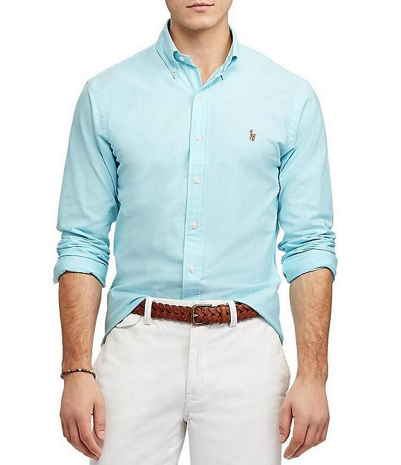 deb77763 Polo Ralph Lauren Slim-Fit Solid Stretch Oxford Long-Sleeve Woven Shirt |  Dillard's