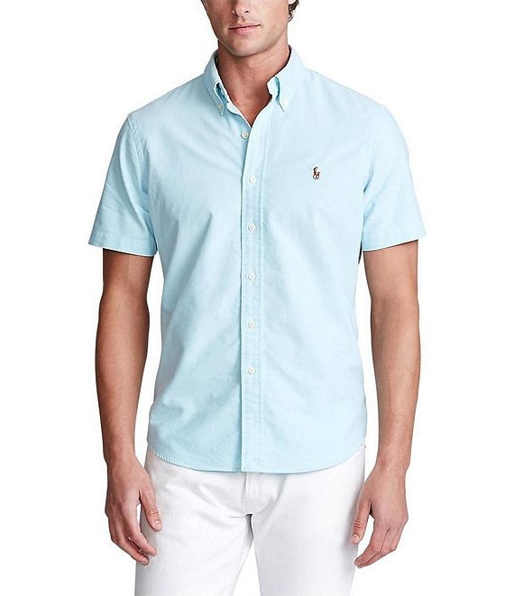 Color:Aegean Blue - Image 1 - Solid Oxford Short-Sleeve Woven Shirt