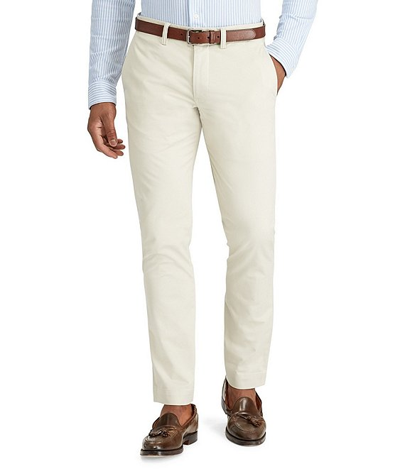 Color:Beige - Image 1 - Straight-Fit Flat-Front Stretch Twill Chino Pants