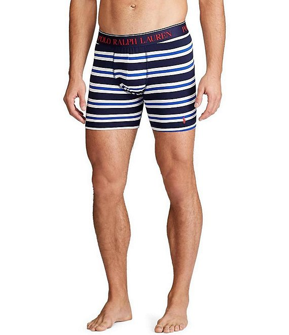 Color:Cruise Navy/Multi Stripe/Red - Image 1 - Stripe Cotton Stretch Boxer Briefs