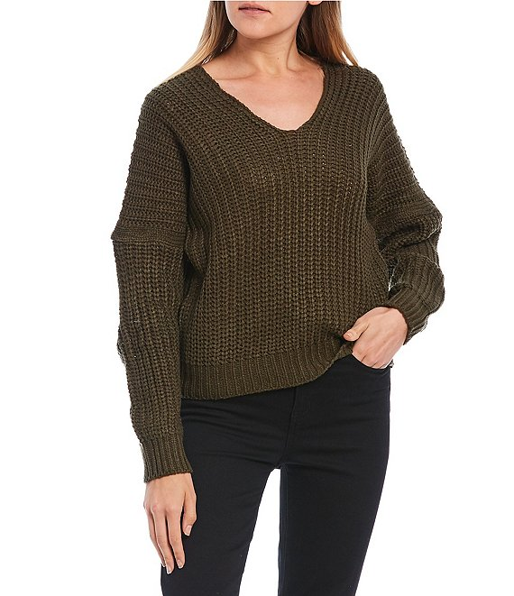 Color:Olive Drab - Image 1 - Double Scoop Neck Long Sleeve Knit Sweater