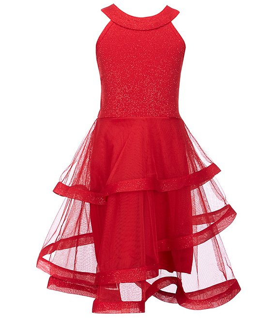 Poppies and Roses Big Girls 7-16 Glitter-Bodice Asymmetrical-Skirted Fit-And-Flare Dress