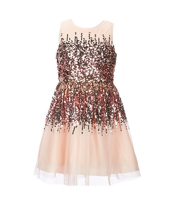Color:Blush/Multi - Image 1 - Big Girls 7-16 Ombre Glitter-Accented Fit-And-Flare Dress