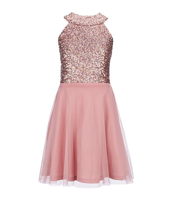 Poppies and Roses Big Girls 7-16 Sequin-Bodice Mesh-Skirted Fit-And-Flare Dress