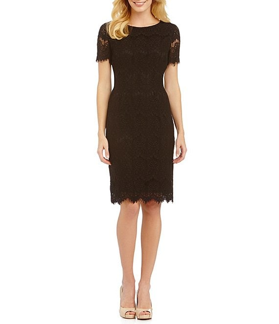 Color:Black - Image 1 - Felicia Short Sleeve Lace Sheath Dress