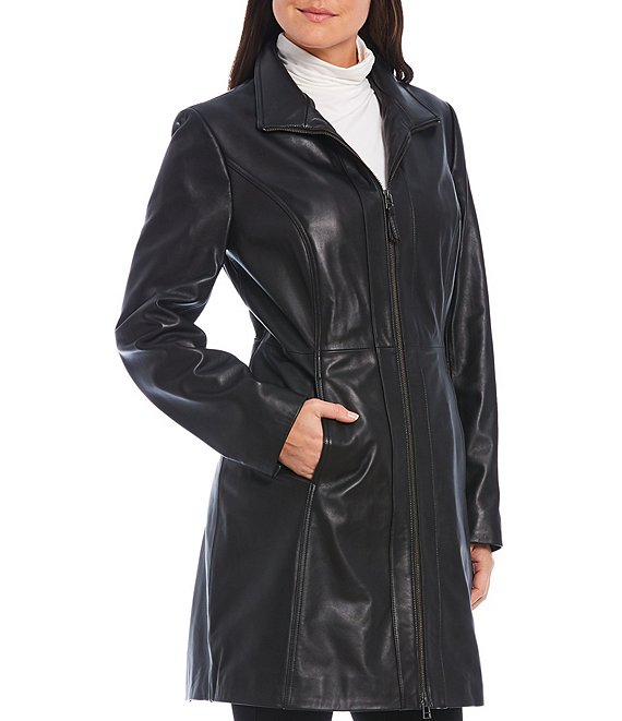 Color:Black - Image 1 - Genuine Leather Stand Collar Long Zip Front Coat