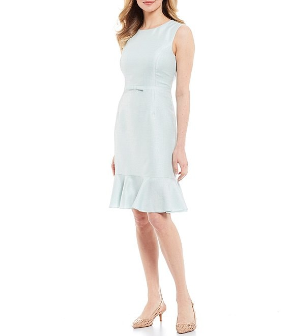 Color:Opal - Image 1 - Joan Bow Detail Sleeveless Sparkle Suiting Flounce Hem Sheath Dress