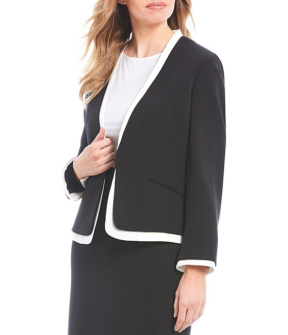 Color:Black/Ivory - Image 1 - Lou Contrast Trim Hook Front Long Sleeve Crepe Blazer